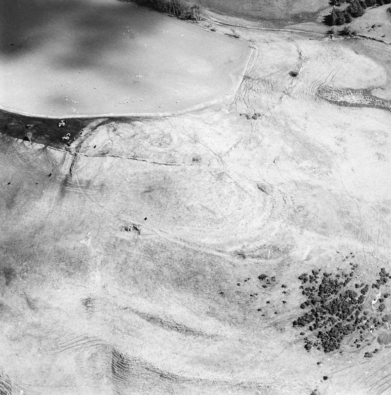 Oblique aerial view of Kirktonhill centred on the remains of a fort, taken from the NW.