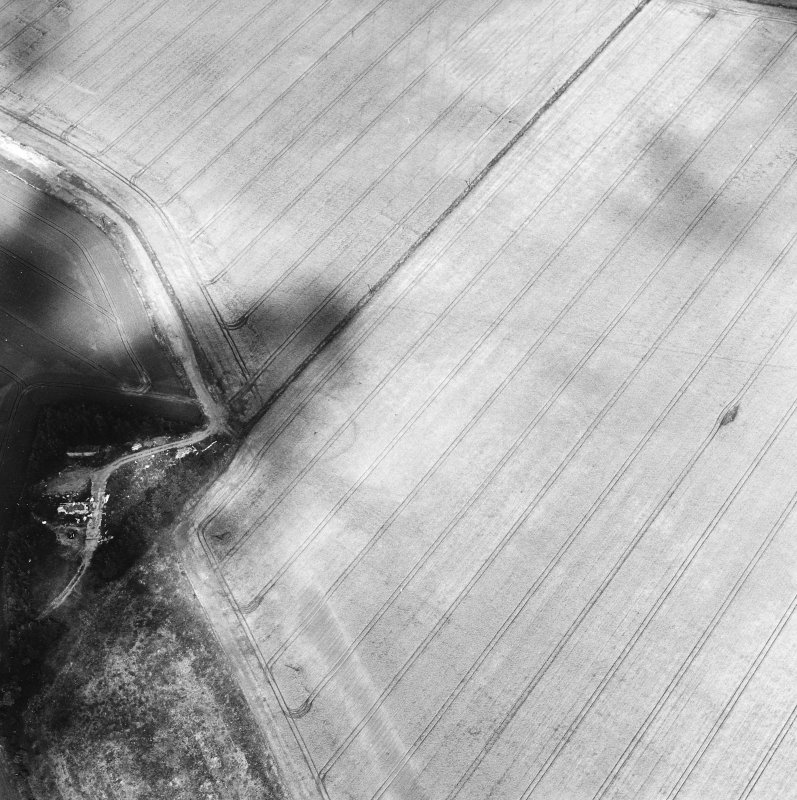 Oblique aerial view centred on the cropmarks of the settlement with the remains of buildings adjacent, taken from the SSW.