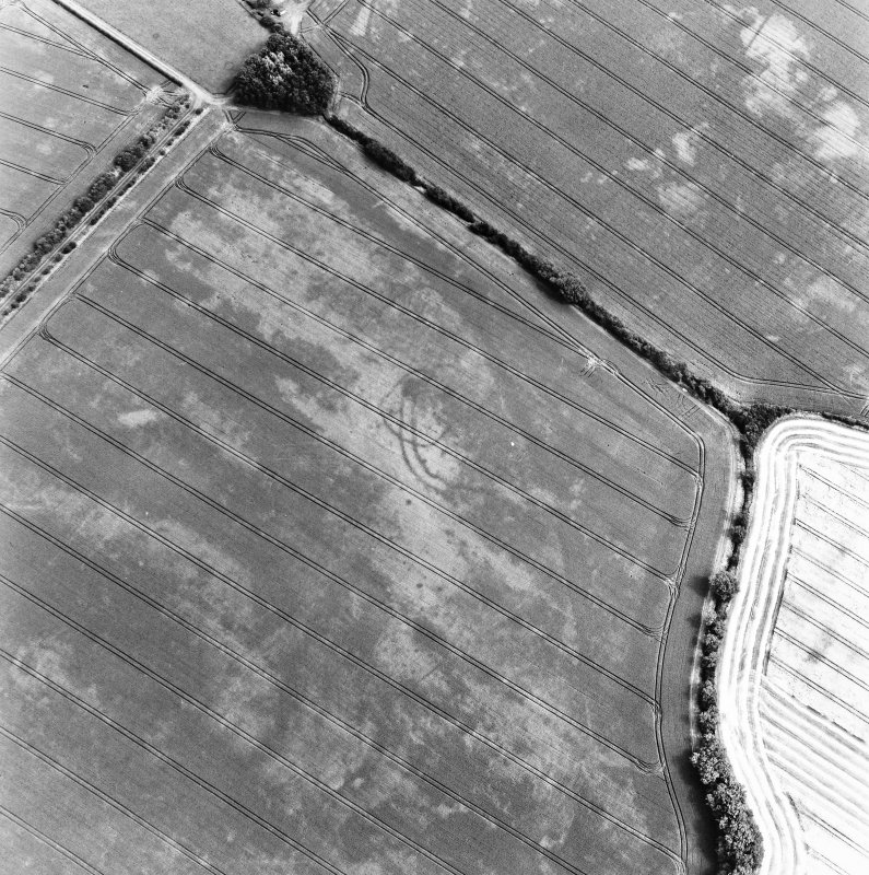 Ballencrieff Mains, oblique aerial view, taken from the NW, centred on cropmarks including an enclosure, settlement and linear cropmark. The route of a dismantled railway line is visible in the top left-hand corner of the photograph.