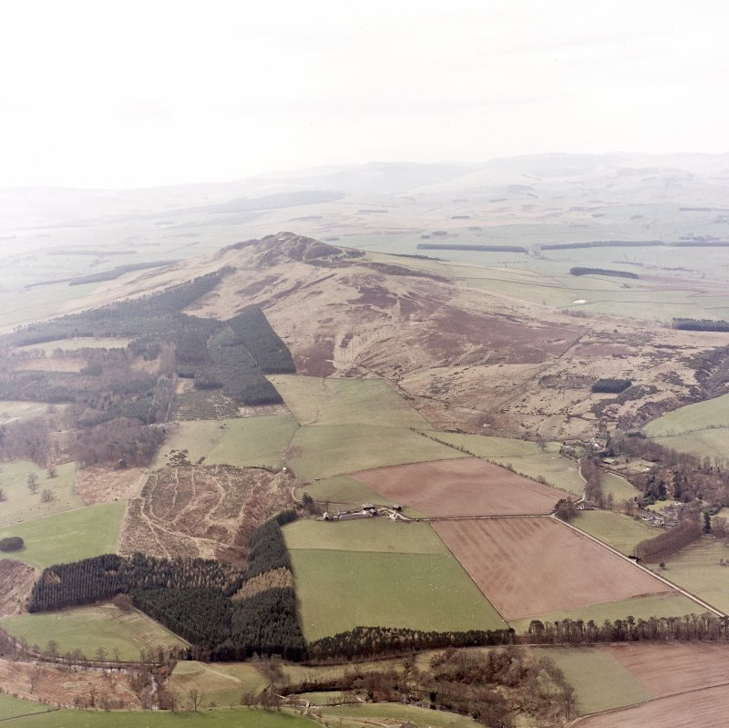 Rubers Law, oblique aerial view, taken from the NE, showing Rubers Law fort and roman signal station in the background of the photograph.