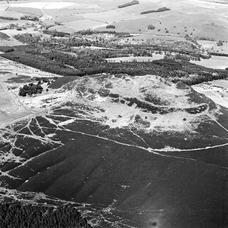 Aerial view of Rubers Law fort and roman signal station, taken from the WSW.