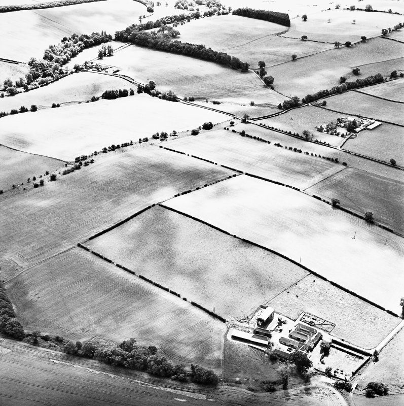 Milrighall, oblique aerial view taken from the NE, centred on the cropmarks of a Roman Temporary Camp.