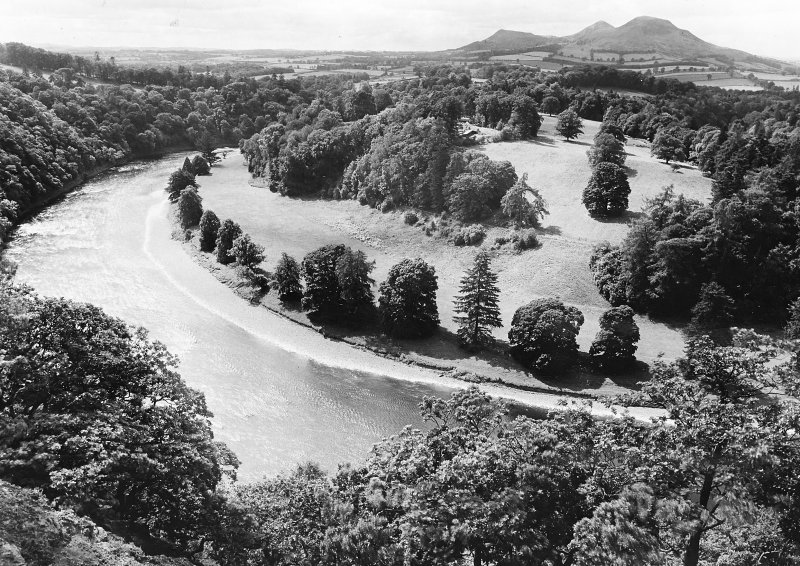 Oblique aerial view  of site of Old Melrose.	 RCAHMS Roxburghshire Inventory fig.397