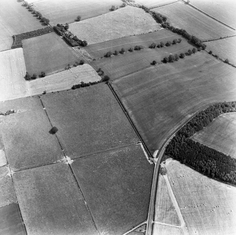Newstead, Roman forts and temporary camps: RCAHMS air photograph showing enclosure (NT 5691 3369), rectlinear enclosure (NT 5675 3361) and 40-acre temporary camp (NT 570 337)