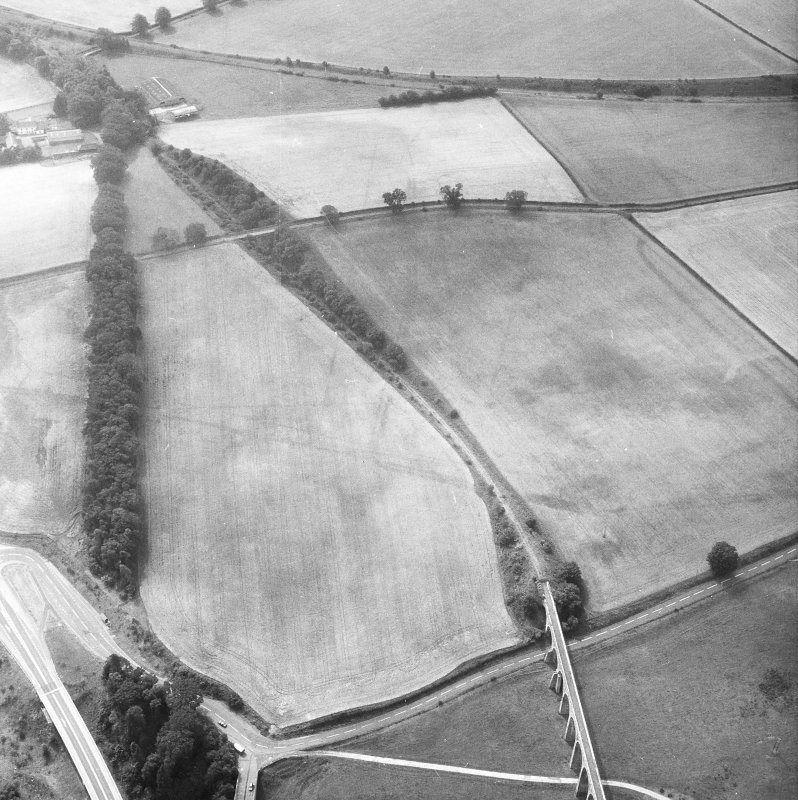 Newstead, Roman fort and temporary camps: air photograph showing Eastern annexe (NT 572 343), annexe (NT 571 343), 'Great camp' complex of temporary camps (NT 574 341) and annexe (NT 571 343).