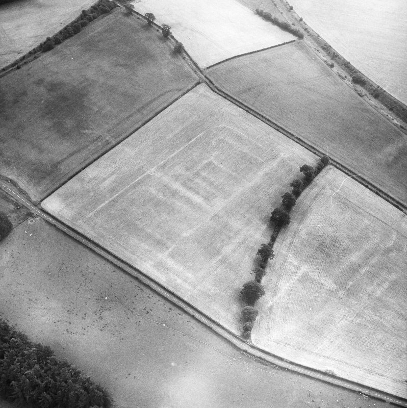 Newstead, Roman fort and temporary camps: air photograph showing fort (NT 569 344), Southern annexe (NT 569 341), Eastern annexe (NT 572 343) and annexe (NT 571 343).
