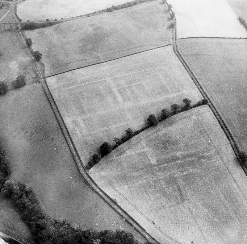 Newstead, Roman fort and temporary camps: air photograph showing fort (NT 569 344), Southern annexe (NT 569 341), Eastern annexe (NT 572 343), Western annexe (NT 567 343), annexe (NT 571 343) and possible annexe (NT 570 346).