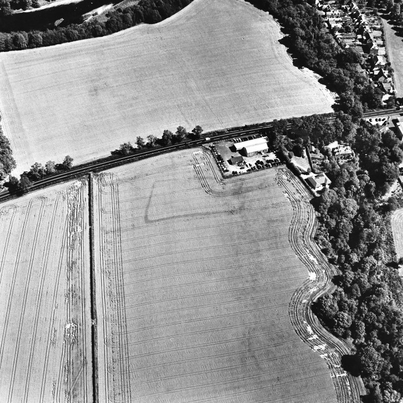 Hawthorndene, oblique aerial view, taken from the SW, centred on the cropmarks of a rectilinear settlement.
