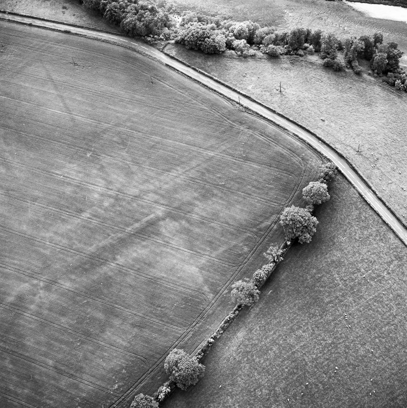 Newstead Roman fort and western annexe, oblique aerial view, taken from the SE.