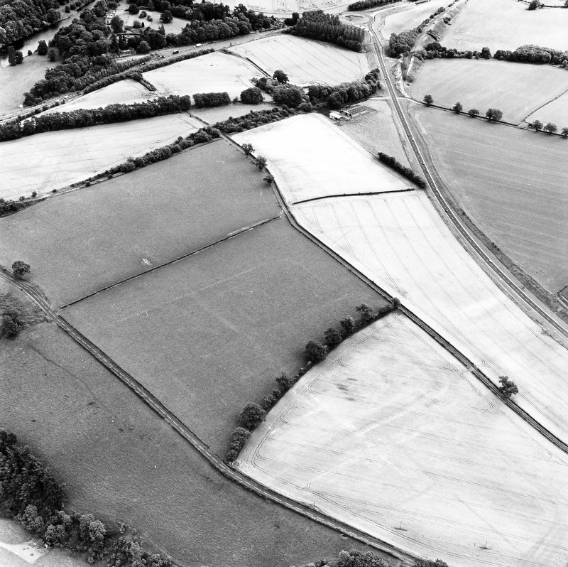 Newstead, oblique aerial view, taken from the NW, centred on the cropmarks of the Roman Fort and Eastern Annexe.