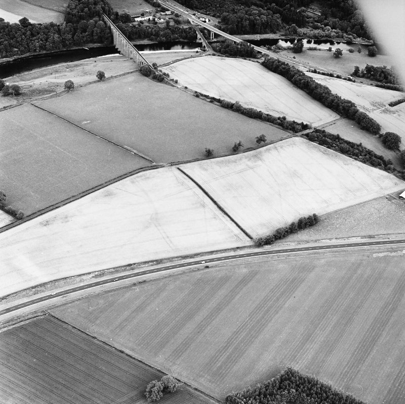 Newstead, oblique aerial view, taken from the SSW, centred on the cropmarks of the Great Camps Complex.