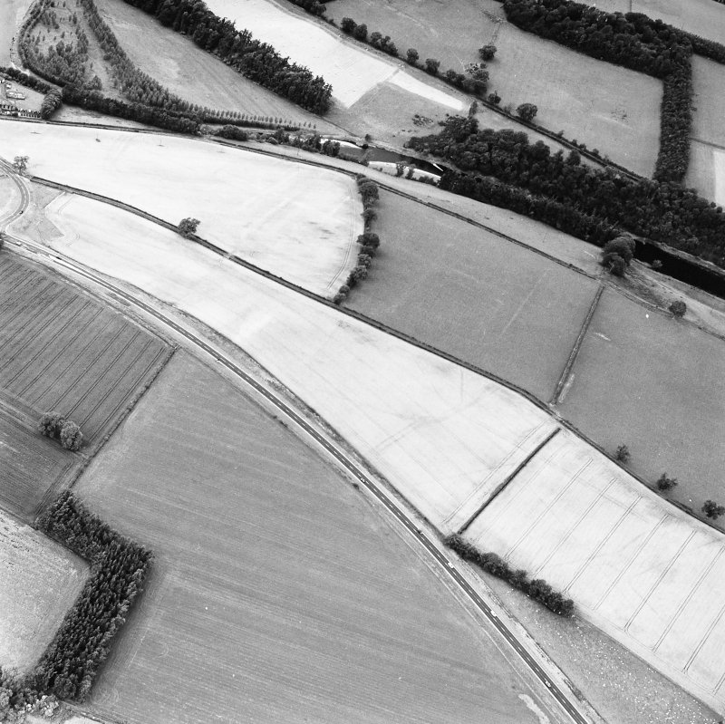 Newstead, oblique aerial view, taken from the SE, centred on the cropmarks of the Roman Fort and Southern Annexe.