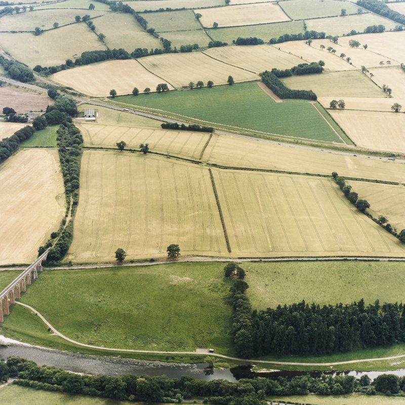 Oblique aerial view of Newstead centred on the cropmarks of the Roman fort, annexes, and Roman temporary camps, taken from the NNW.