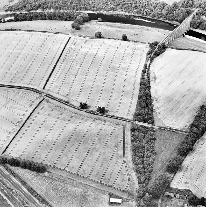 Oblique aerial view of Newstead centred on the cropmarks of the eastern annexe, enclosure and Roman temporary camps with Roman fort adjacent, taken from the SSE.