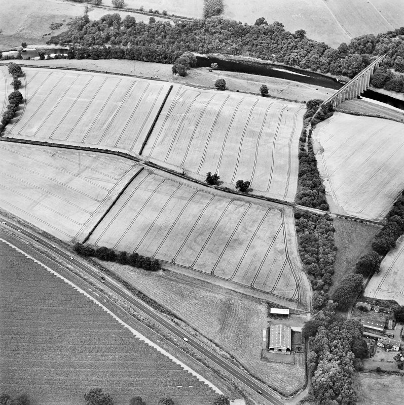 Oblique aerial view of Newstead centred on the cropmarks of the Roman fort, eastern and southern annexes, enclosure and Roman temporary camps, taken from the SE.