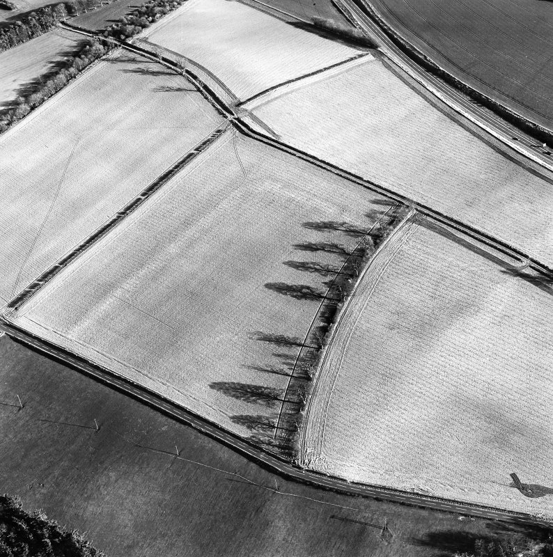 Oblique aerial view centred on the soilmarks of the Roman fort, taken from the NW.