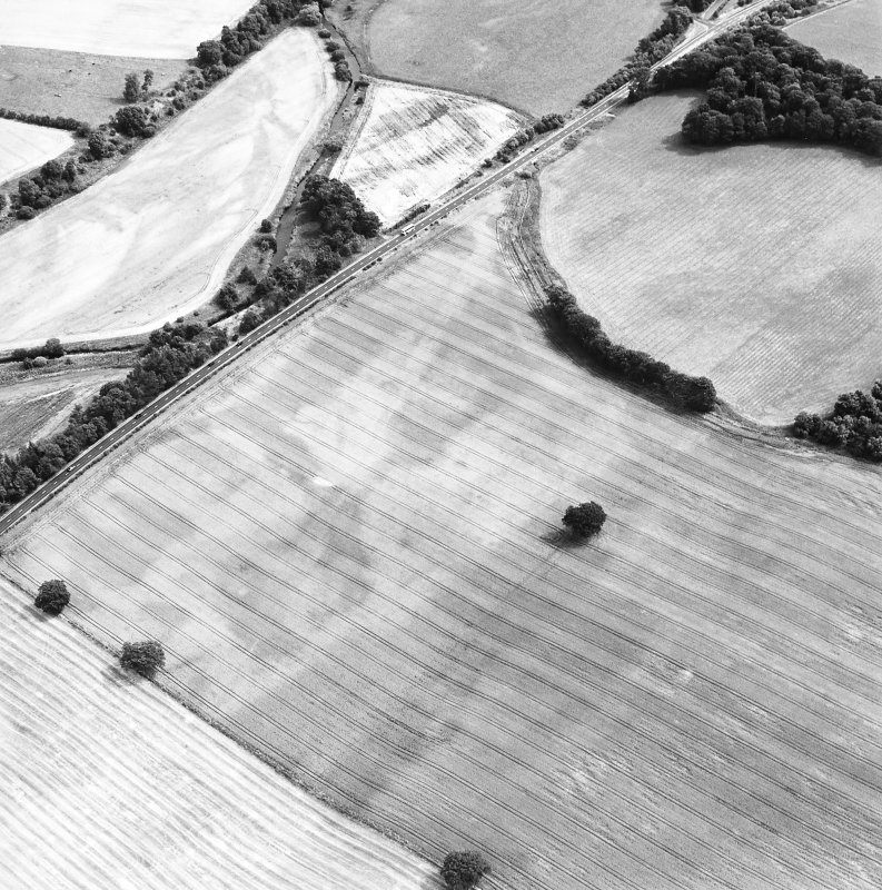 Oblique aerial view centred on the cropmarks of the pit-defined enclosure and field boundary, taken from the W.