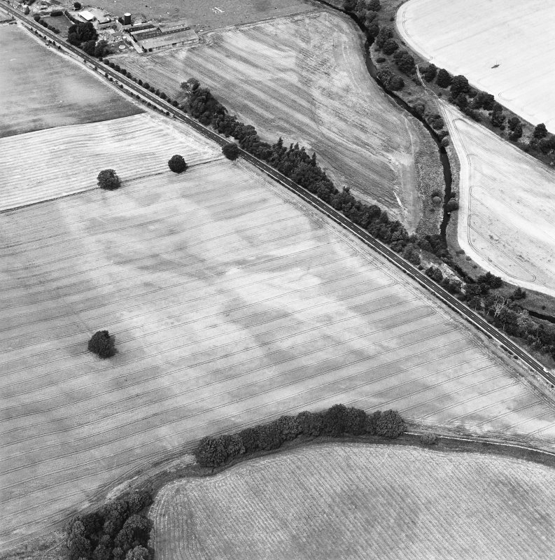 Oblique aerial view centred on the cropmarks of the pit-defined enclosure and field boundary, taken from the S.