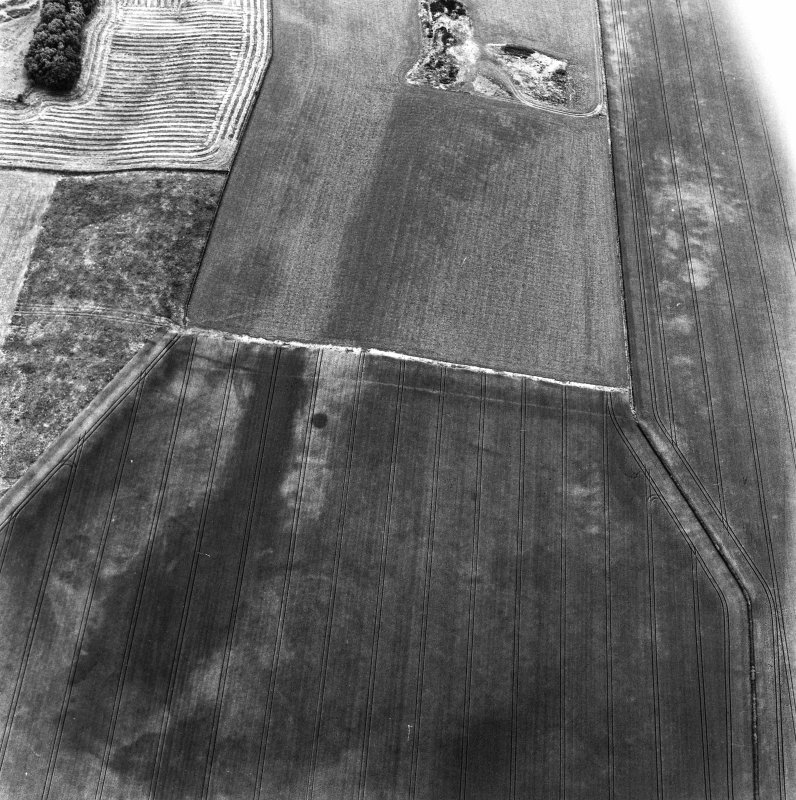 The Chesters, Drem, oblique aerial view, taken from the NE, centred on the cropmarks of a pit-alignment.