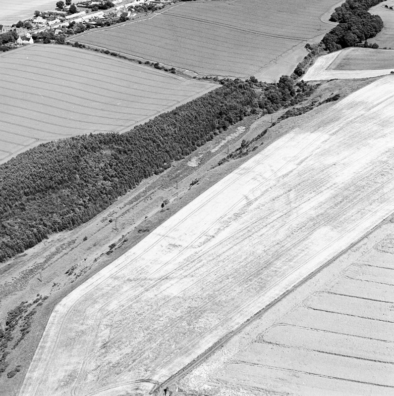 Oblique aerial view of hanging Craig centred on the cropmark of a fort, with the remains of Barnes Castle adjacent.  Taken from the SW.
