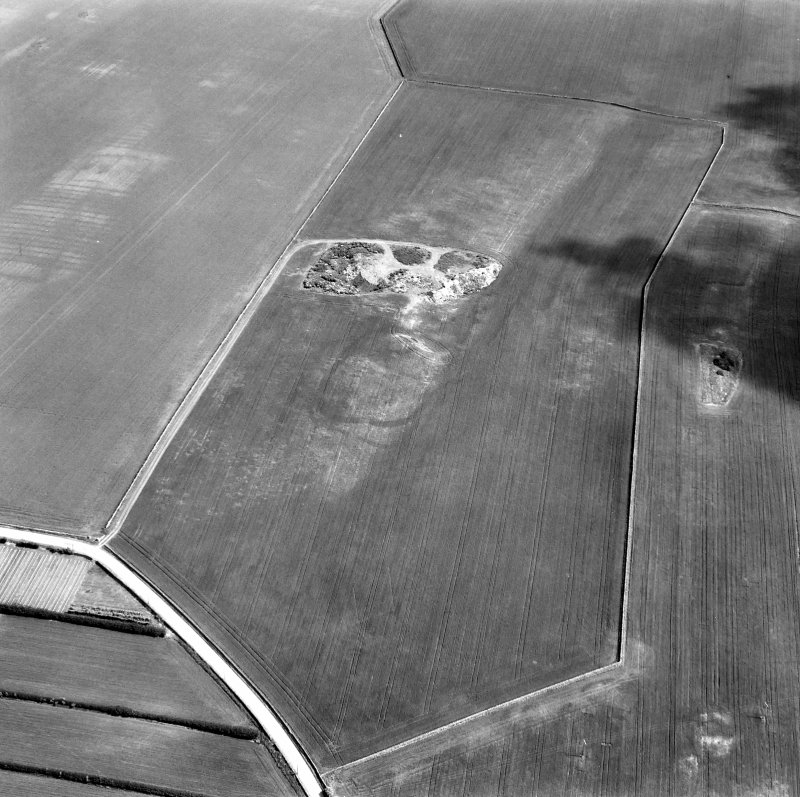 Foster Law, settlement and The Chesters, pit-alignment: oblique air photograph of cropmarks.