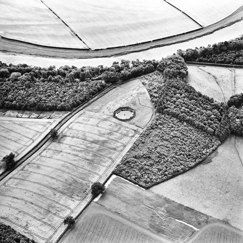Oblique aerial view centred on the pond and cropmarks of the fort and settlement, taken from the N.