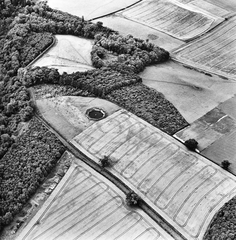 Oblique aerial view centred on the pond and cropmarks of the fort and settlement, taken from the E.