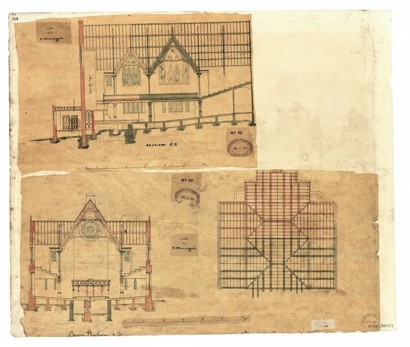 Photographic copy of proposed Additions. Recto, Sections, Roof joists plan. Verso, East Elevation.