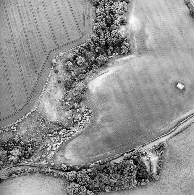 Oblique aerial view centred on the cropmarks of the enclosure with dovecot adjacent, taken from the NW.