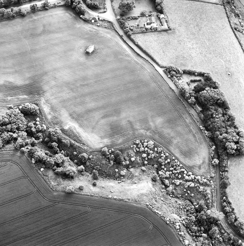 Oblique aerial view centred on the cropmarks of the enclosure with dovecot adjacent, taken from the ENE.