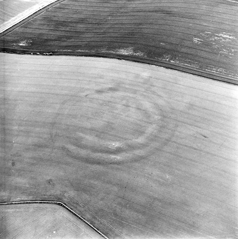 Oblique aerial view centred on the cropmarks of the fort, taken from the SSW.