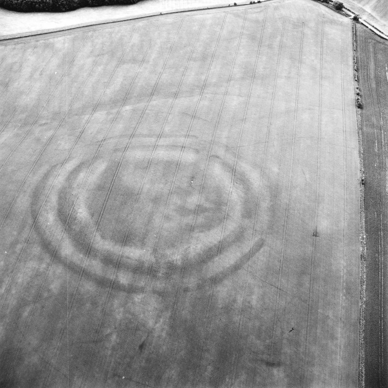 Oblique aerial view centred on the cropmarks of the fort with field boundaries and  cropmarks adjacent, taken from the SE.
