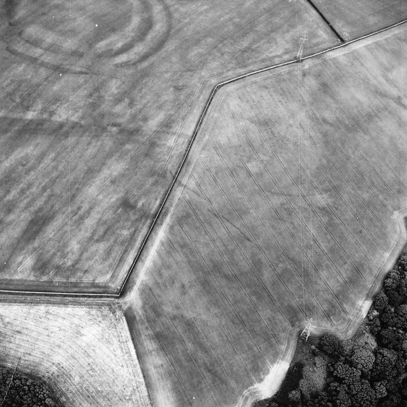 Oblique aerial view centred on the cropmarks of the field boundaries and cropmarks with fort adjacent, taken from the W.