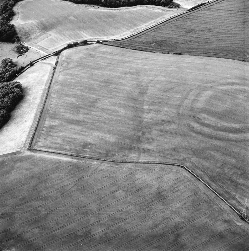 Oblique aerial view centred on the cropmarks of the field boundaries and cropmarks with fort adjacent, taken from the S.