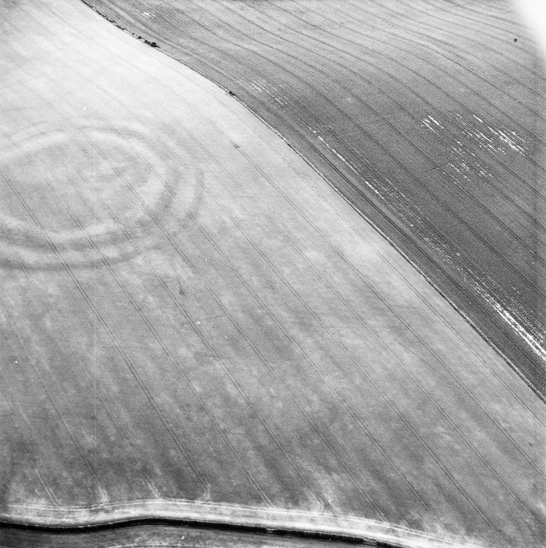 Oblique aerial view centred on the cropmarks of the field boundaries and cropmarks with fort adjacent, taken from the SSE.