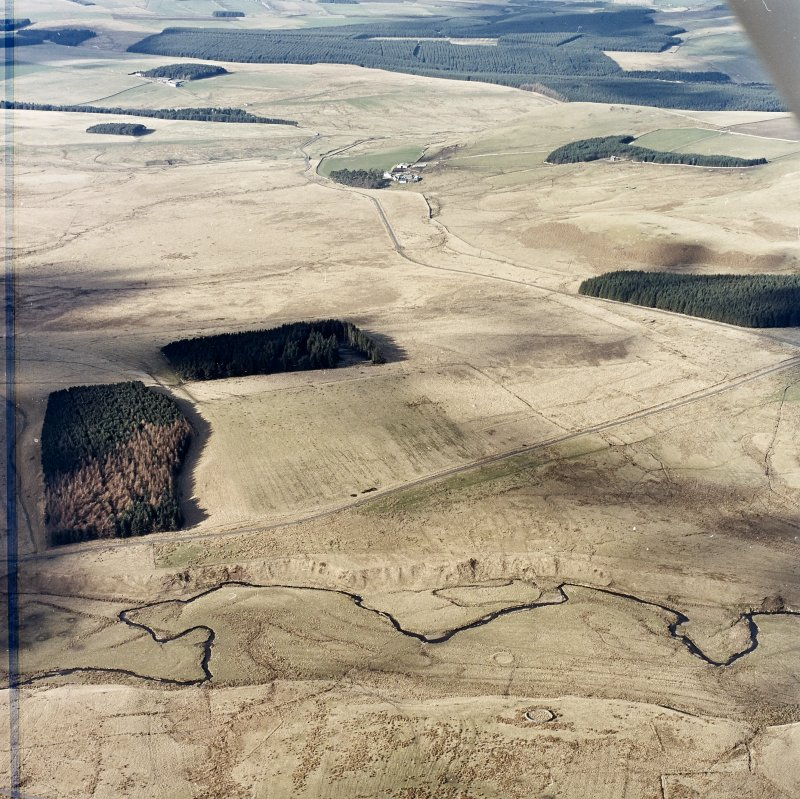 Oblique aerial view centred on the remains of Roman temporary camps, earthwork, sheepfolds and rig, taken from the ENE.