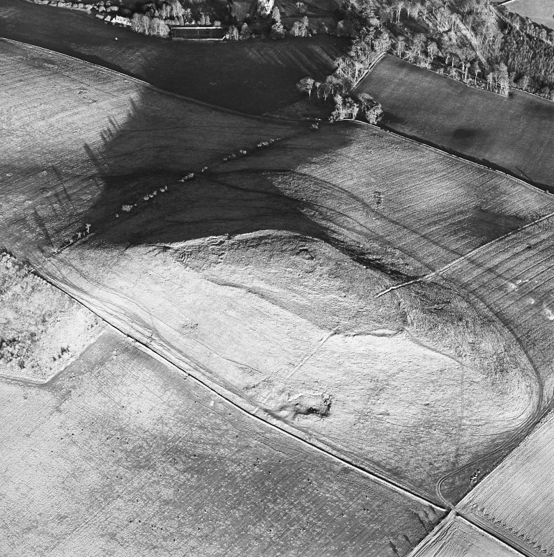 Oblique aerial view centred on the remains of the fort and settlement, taken from the W.