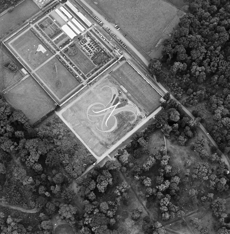 Oblique aerial view of Floors Castle, Formal Garden centred on the formal garden, taken from the E.