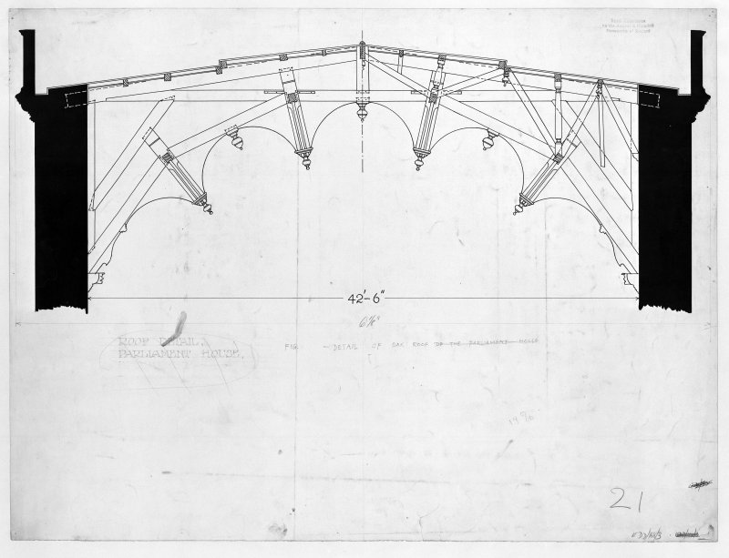 Photographic copy of drawing of Roof Detail, Parliament House. Inv.fig.255.