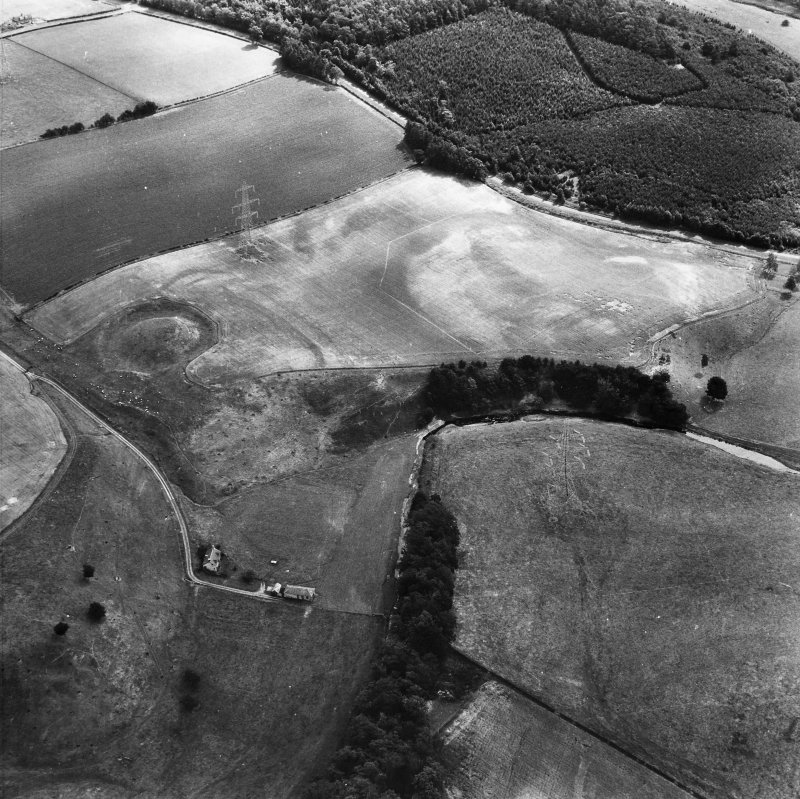 Oblique aerial view centred on plantation bank from W.