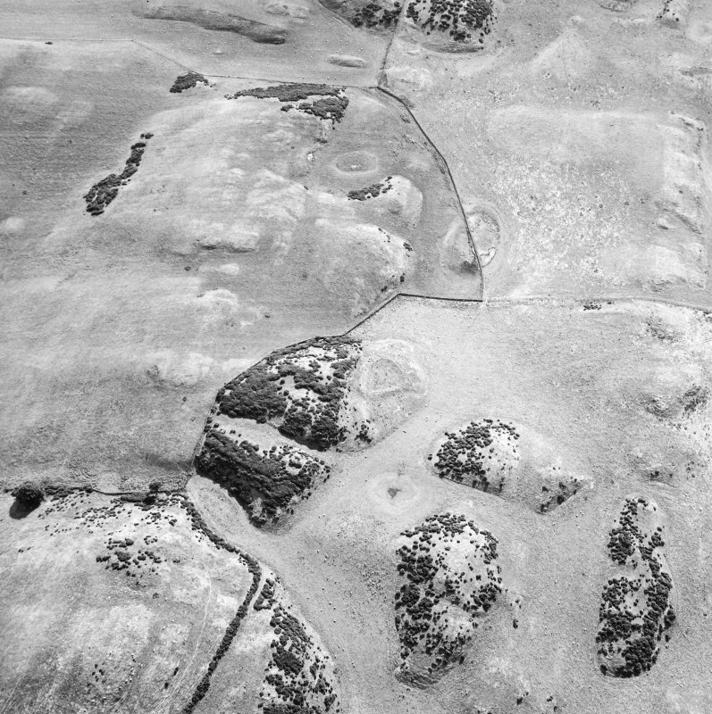 Oblique aerial view centred on the remains of the settlement, taken from the NE.