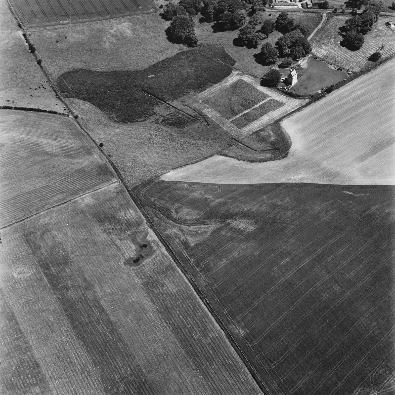 Craigcaffie, oblique aerial view, taken from the SE, centred on the cropmarks of a possible souterrain and linear cropmarks. Craigcaffie Tower is visible in the top right-hand corner of the photograph.