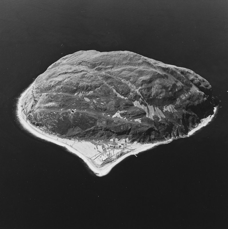 General oblique aerial view centred on Ailsa Craig, the lighthouse, cottages, foghorn and castle, taken from the E.