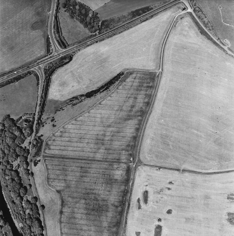 Glenluce Roman Temporary Camp, oblique aerial view, taken fom the SSW.