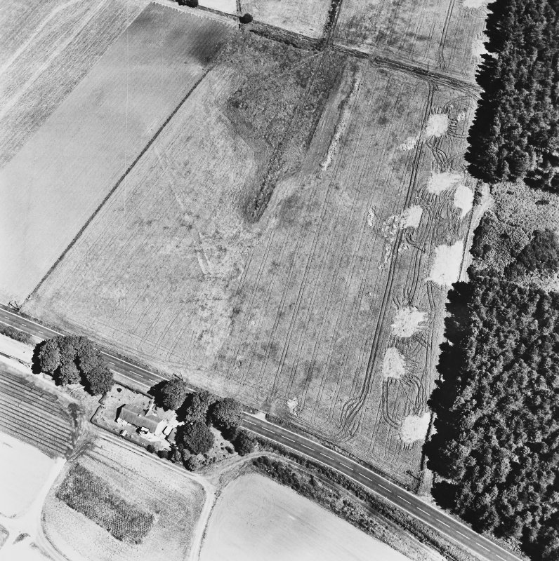 Dunragit, oblique aerial view, taken from the WSW, centred on a pair of linear cropmarks. Droughdool Motte is visible in the centre right of the photograph.
