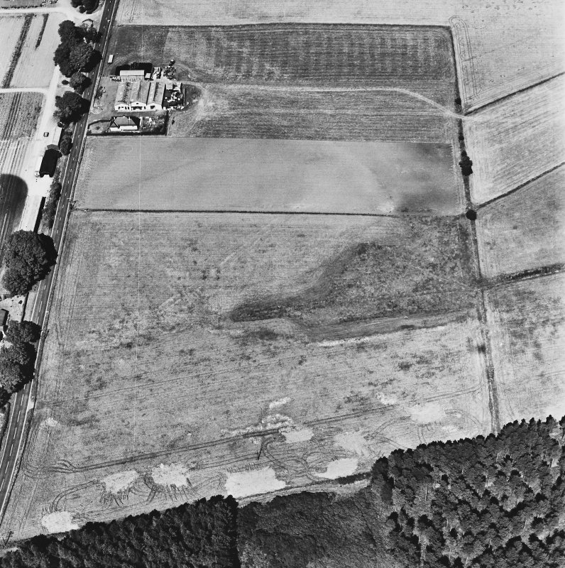 Dunragit, oblique aerial view, taken from the SSW, centred on a pair of linear cropmarks. Droughdool Motte is visible at the bottom edge of the photograph.