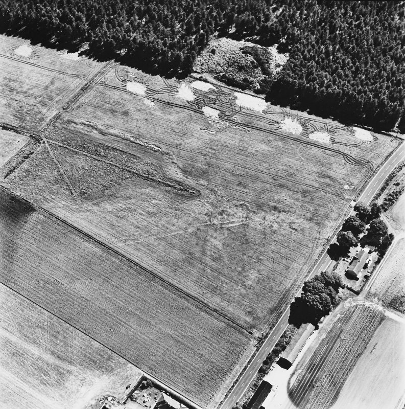 Dunragit, oblique aerial view, taken from the NNW, centred on a pair of linear cropmarks. Droughdool Motte is visible at the top edge of the photograph.