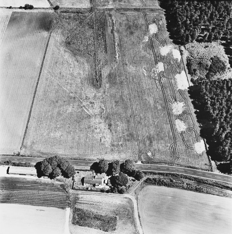 Dunragit, oblique aerial view, taken from the W, centred on a pair of linear cropmarks. Droughdool Motte is visible in the top right-hand corner of the photograph.