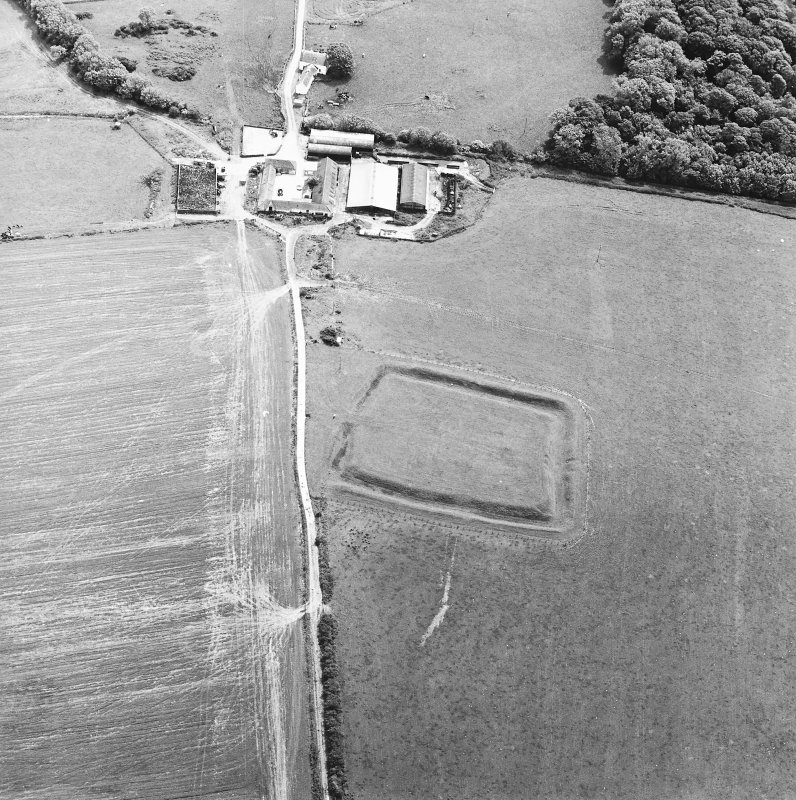 Oblique aerial view centred on the remains of the settlement, taken from the NW.