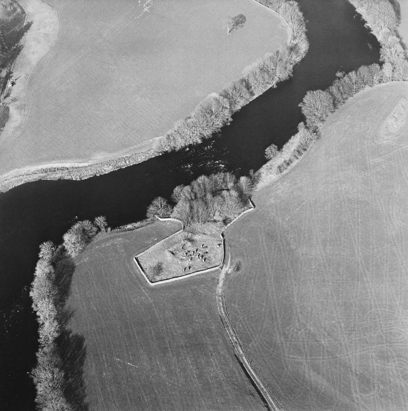 Oblique aerial view centred on the remains of the church and burial ground with the remains of a motte in trees adjacent, taken from the SW.